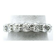 3.25 G SI ROUND CUT DIAMOND ETERNITY BAND RING 14k WG