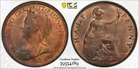 PCGS MS-64 RED-BN GREAT BRITAIN HALFPENNY 1/2 PENNY 1899 (LOTS OF RED!)