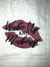 Embroidered White Bathroom Hand Towel Hs1210 Wake Up And Make Up