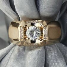 Men's 14k Yellow Gold Plated Round 1.18 Ct Moissanite Wide Band Ring Over Silver