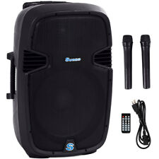 """Portable 15"""" 1000W Rechargable Battery Powered Speaker DJ/PA System Bluetooth"""