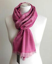 Gucci bufanda señora 180x45 lana seda nuevo rosa 165904 3g646 5874