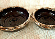 Small Nesting Pair Earthenware Serving Bowls Brown Treacle Glaze Faceted Rims