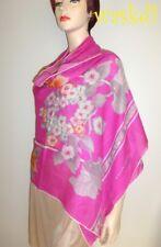 "LEONARD Paris pink FLOWERS Cashmere 26x69"" scarf SHAWL wrap NEW IN BOX Authentc"