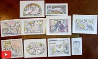Erotica Art Deco 1921 beautiful pochoir prints lot x 10 nudes love