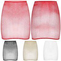Women's Shiny Rhinestone Bodycon Micro Short Mini Skirt See-Through Club Dress