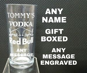 PERSONALISED ENGRAVED VODKA RED BULL GLASS NAME /MESSAGE GIFT BOXED VODKA GLASS