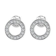 0.30Ct Pave Set Round Diamond Stud Earrings, in White Gold