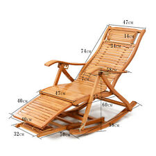 Foldadble Bamboo Rocking Chair Recliner W/Foot Rest Indoor/Outdoor Deck Chair