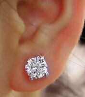 Real 2.00 Carat Genuine Solitaire Diamond Earrings Solid 18 K White Gold Studs