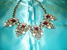 """STUNNING BIB NECKLACE"" Rhinestones, Custard Stones & HEART CHAIN Necklace"