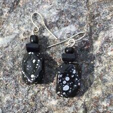 Black Silver Droplet Earrings Dangle Splatter Hook Career Comfortable