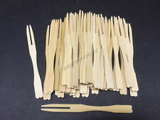100 x Bamboo Catering Forks Sticks Pick Cocktail Picnic Party Finger Food BBQ