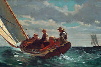 Large 12x18 Winslow Homer Sailing Boys Sail Boat Painting Real Canvas Art Print