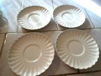 Lot of Four Copeland Spode Chelsea Wicker C.1890 Cream Soup SAUCERS Underplates
