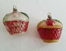 ANTIQUE* Blown glass* Christmas* Feather tree ornaments (2) 20's/30's* patina*
