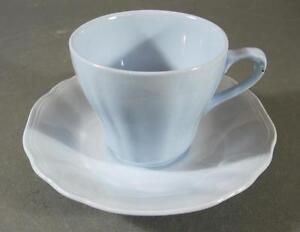 Shabby vintage blue J&G Meakin CELESTE duo-teacup/saucer England #1