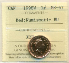 1998W Canada Small Cent Certified ICCS MS-67 Red NBU