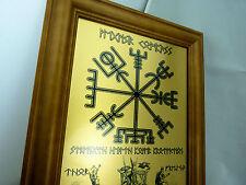 Rune viking vegvisir boussole, odin, thor et freya wall art imprimé sur en métal doré
