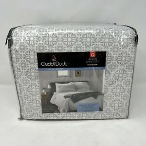 Cuddl Duds Flannel Queen Sheet Set Gray Tile Geo Heavyweight Brushed Cotton