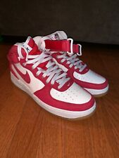 Men?s Nike Air Force 1 07 Mid Sneakers Red Denim/Sail 315123-607 Size 9.5