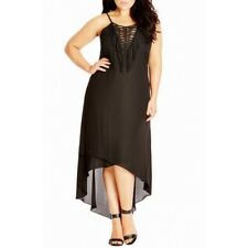CITY CHIC XL 22 NWT RRP $119 MAXI FRINGE FEVER BLACK