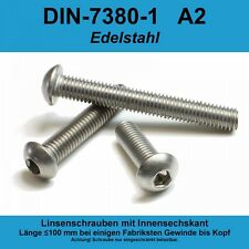 M3 ISO 7380-1 A2 V2A Edelstahl Linsenschrauben Innensechskant Linsenkopf M3x