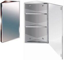 600mm Stainless Steel Mirror Bathroom Corner Cabinet Bevelled Edge Reversible