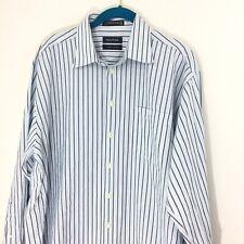 Nautica 16&1/2 34/35 Men's Blue Striped 100% Cotton Soft Dress Shirt EUC