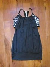 LULULEMON LET IT LOOSE TANK IN BLACK AND IKAT print SIZE 6 WITH CUPS