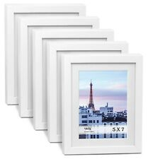 Cavepop 5x7� White Wood Textured Picture Frames - Set of 5