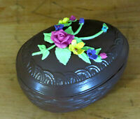 Vintage Faux Chocolate Easter Egg Trinket Dish Hand Painted Lefton Upcycled OOAK