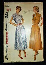 "RARE VINTAGE 1940's SIMPLICITY SEWING PATTERN 2792 SUMMER SUN DRESS - BUST 30"""