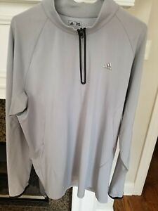 """Adidas Climacool Long Sleeve 1/4 Zip Stretch Pullover Large Gray 48"""""""
