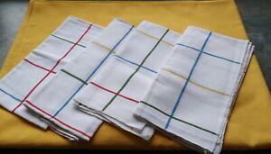 "Fab Orange poly/Cotton Tablecloth Check Pattern 70"" x 53""  & 4 Striped Napkins"