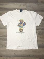 Vintage Polo Bear by Ralph Lauren Sz S Fisherman Fishing White Tee T Shirt