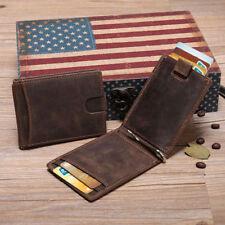 RFID Bifold Grain Leather Mens Ultra Slim Money Clip Minimalist Purse Wallets