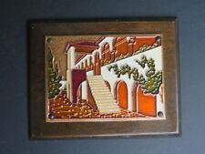 Vintage Aethra Wood Copper Enamel Handmade Greece Village Wall Art Plaque (O5)