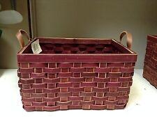 Woven Wicker Storage Organizer Toys Bathroom Kitchen Basket Red 16x11x9