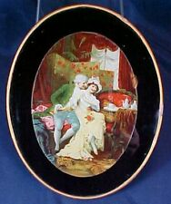 Antique Oval Flue Cover Man Woman on Couch Metal Frame Lion Rug
