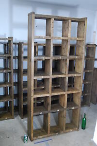 Pigeon holes industrial rustic bookcase reclaimed wood factory salvage gplanera