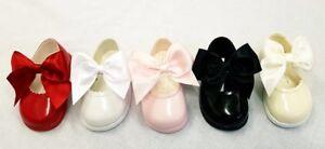 Girls Toddler Spanish Style Ribbon Bow Patent Walker Hard Sole Shoe UK SIZE 2-6