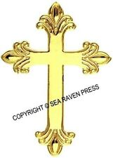 Budded Latin Fleuree Cross Pendant - shiny gold appearance