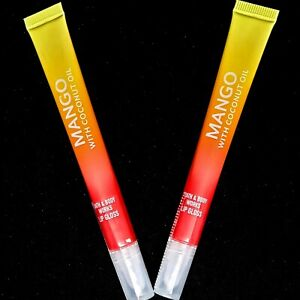 """🥭 2 X BATH & BODY WORKS MANGO WITH COCONUT OIL LIPGLOSS NWT """"STAY SAFE"""" 😷"""