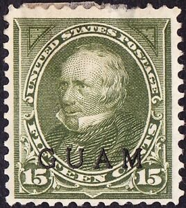 Guam - 1899 - 15 Cents Green Henry Clay Overprinted Issue # 10 Mint F - VF w Gum