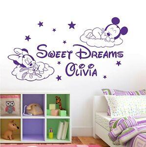 Mickey Minnie Personalised Children Names Disney Wall Decor Vinyl Wall Sticker