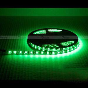 Waterproof Green 5M 300Leds 5050 SMD LED Flexible Strip Light 12V DC Black PCB