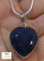49 ct Blue Opaque Sapphire Heart Silver Pendant