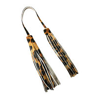 Raviani Genuine Silver Hair on Leopard Leather Fringe Bag Charm (Made In USA)