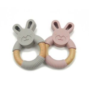 Wooden Baby Teething Ring Bear Bunny Rabbit Teether Ring Chew Toy BPA Free AU